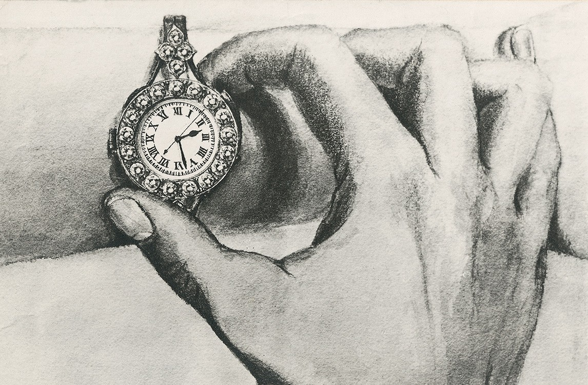~1914. Sketch of a Double Complication Pocket Watch for Ladies.