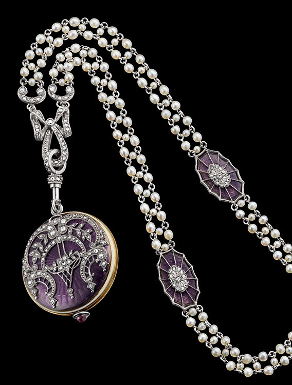 1918. Enamelled, Gem-set Pendant Watch with Pearl Necklace.